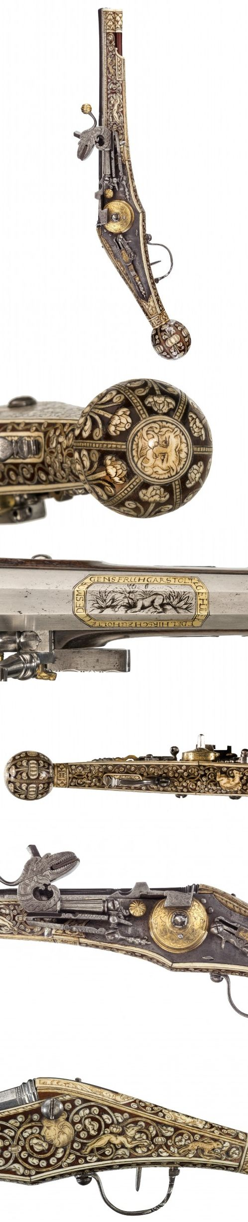 A GERMAN (SAXON) SMALL WHEELLOCK HOLSTER PISTOL MADE FOR A BOY, ALMOST CERTAINLY A YOUNG NOBLE OF THE ELECTORAL COURT, WITH FRUITWOOD STOCK INLAID WITH ENGRAVED STAGHORN AND THE LOCK WITH FIRE-GILT BRASS MOUNTS, DRESDEN, CIRCA 1600.