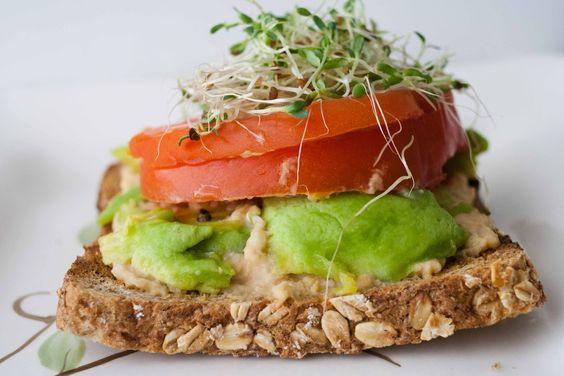 Open-Faced Hummus and Veg Sandwich...