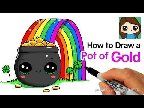 Youtube Rainbow Drawing Gold Drawing Four Leaf Clover Drawing
