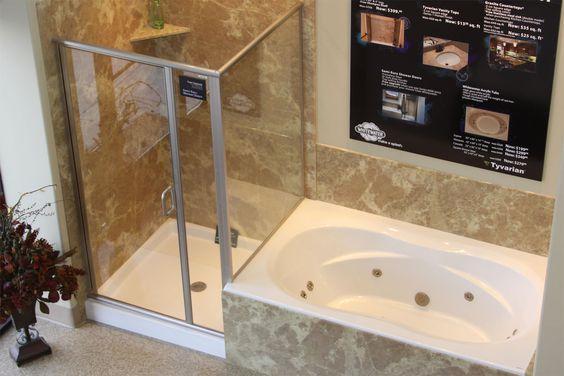 White vanity shower doors and ceramic wall tiles on pinterest for Garden bathtub shower combo