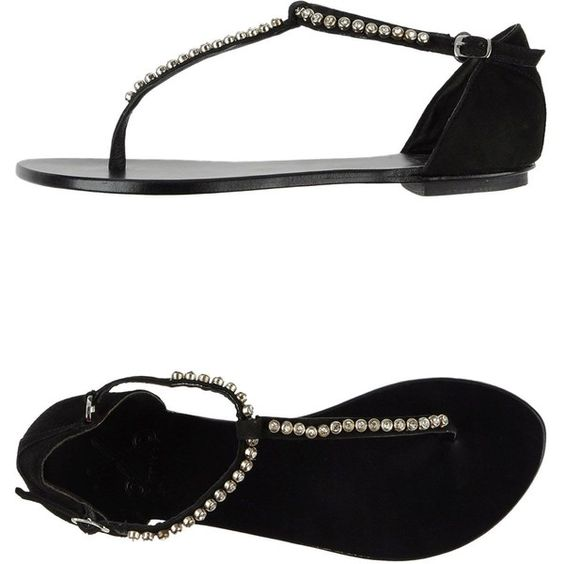 Bryan Blake Thong Sandal ($37) ❤ liked on Polyvore featuring shoes, sandals, black, black sandals, buckle sandals, black thong sandals, flat shoes and toe thong sandals