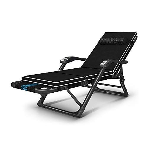 Fh Deck Chair Home Multi Function Lunch Break Single Lazy Chair Backrest Portable Chair Blue Stripe Color B With Pad Portable Chair Deck Chairs Chair