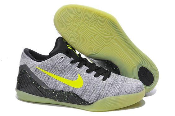 Glow in the Dark Mens Nike Kobe 9 Low Sneakers Grey/Volt/Black