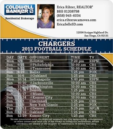 Check out my Charger's Football Schedule Magnet I designed from MagnetStreet. Repin and I'll send you one of your very own!