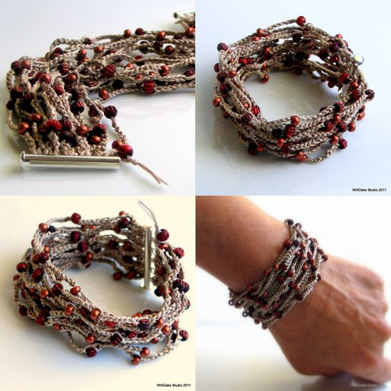 Beige Silk Cuff with Firebrick Red Glass and Bone Beads, Nougat Silk Crocheted Cuff, Comfort Cuff, Original Design, Fresh Fashion. $52,00, via Etsy.