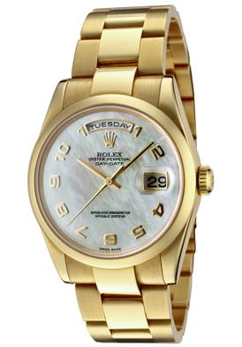 Rolex 118208 MAO Men's Day-Date Automatic White MOP Dial Oyster 18k Solid Gold Watch