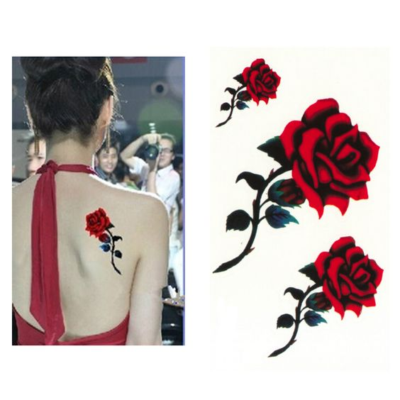 Find More Temporary Tattoos Information about 3PCS Sexy Red Rose Design Women…
