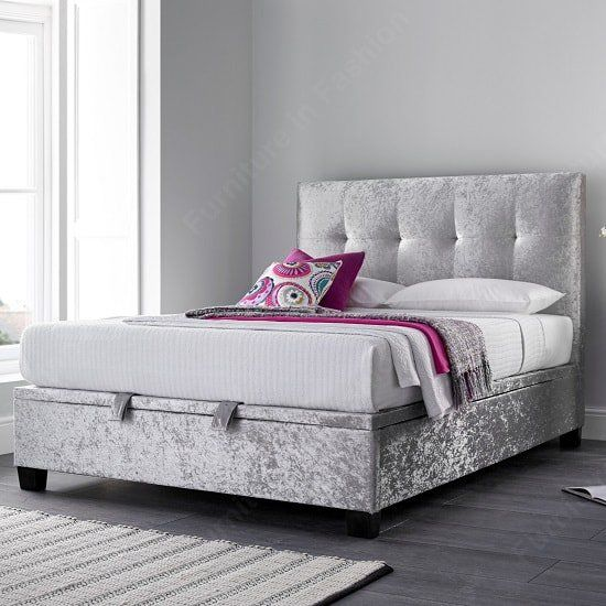 Florus Ottoman Storage King Size Bed In Crushed Silver Velvet Ottoman Storage Bed Bed Frame With Storage Fabric Ottoman