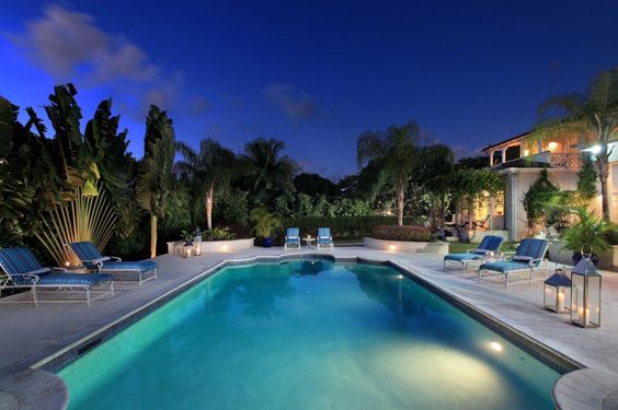 Stunning poolside at evening time
