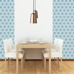 Papier peint adhésif de créateur composé de motifs géométriques rappelant la décoration des 1960's et les atmosphères scandinaves actuelles