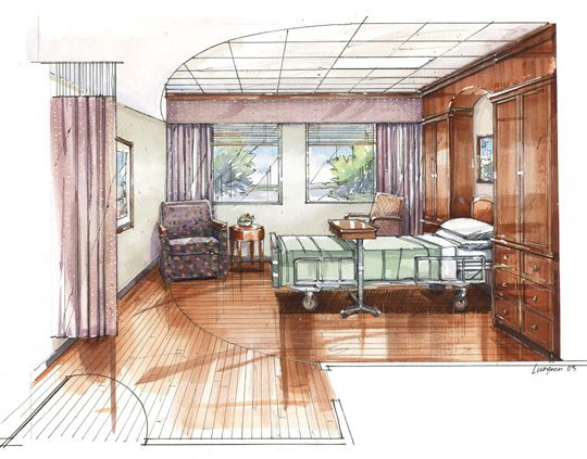 drawn hospital room for design students pinterest