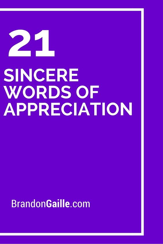 21 sincere words of appreciation