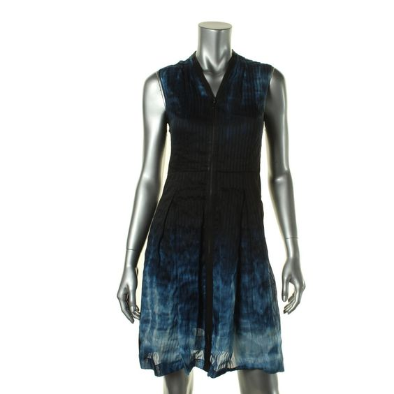 Elie Tahari Womens Emma Linen/Silk Printed Party Dress