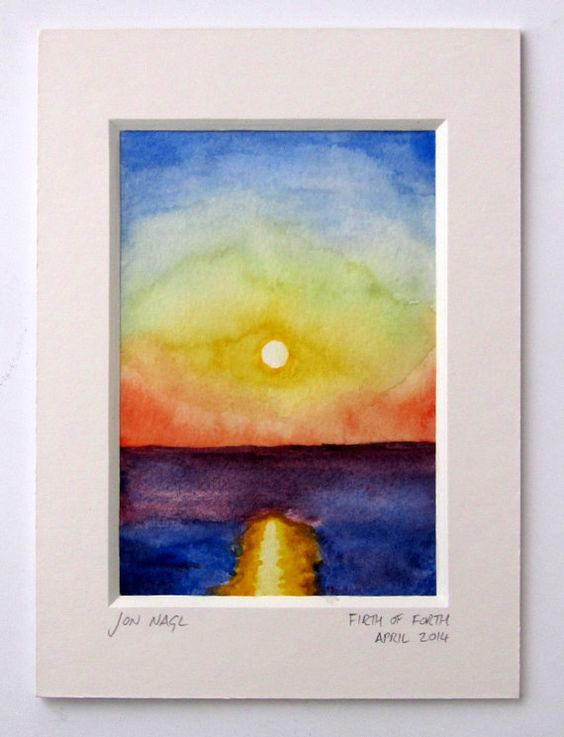 Crossing the Forth, 15 April 2014, original watercolour painting of seascape dawn with window mount on Etsy, £45.00