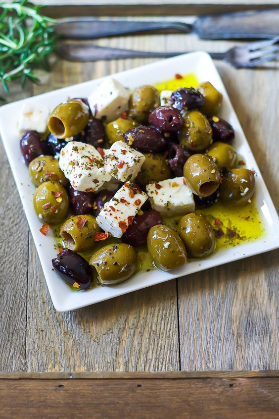 Marinated Olives and Feta Cheese | The Domestic Dietitian