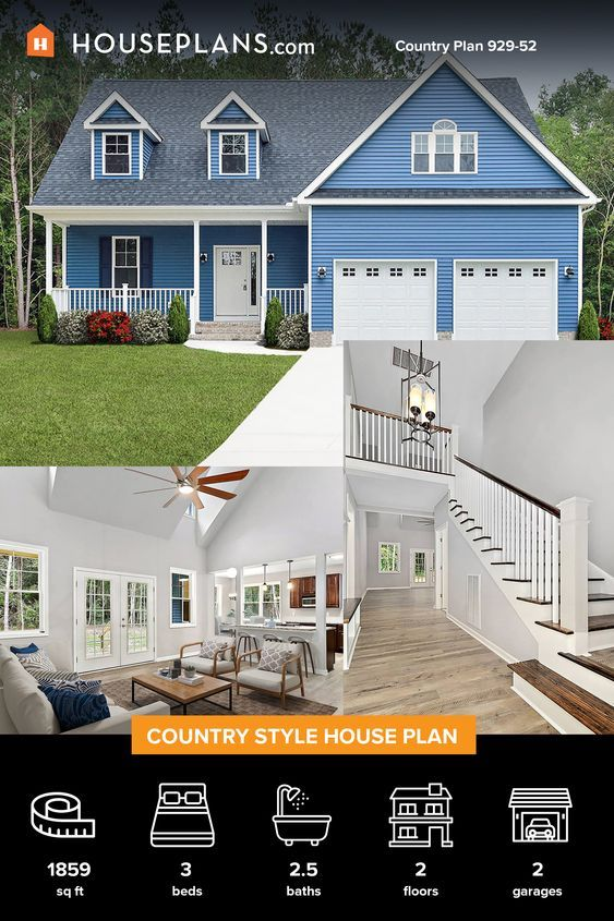 Country Style House Plan 3 Beds 2 5 Baths 1859 Sq Ft Plan 929 52 In 2020 Country Style House Plans House Plans Farmhouse Plans