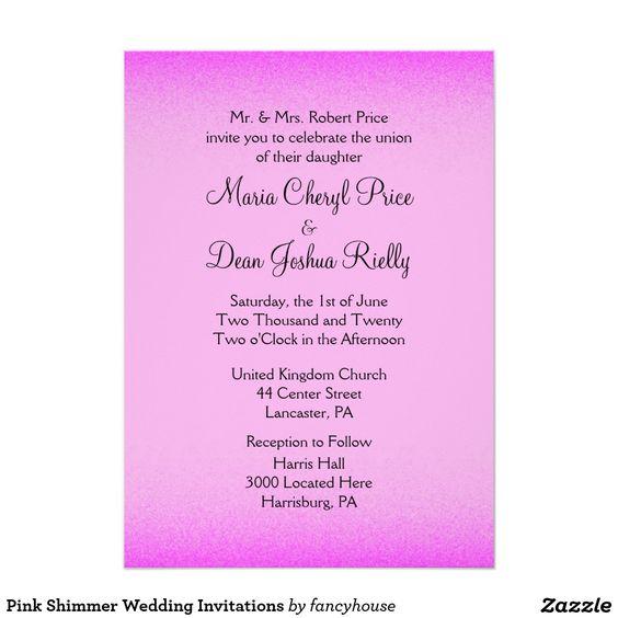 """Pink Shimmer Wedding Invitations 5"""" X 7"""" Invitation Card"""