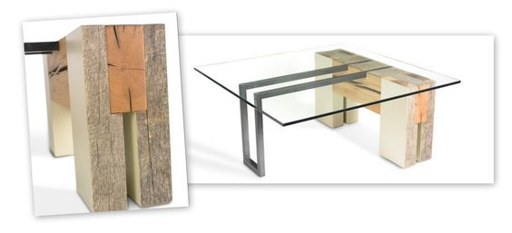 "Jacob Kulin. Side Table (steel, glass, reclaimed oak and chestnut). 16""H x 36""L x 36""W"