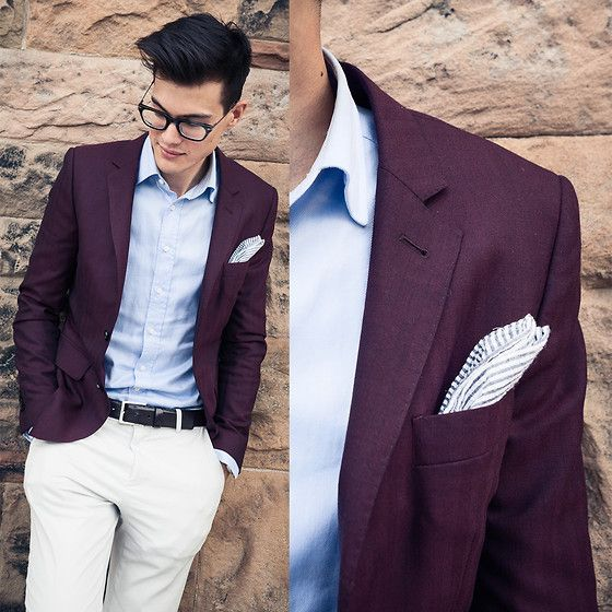 Indochino Burgundy Herringbone Blazer, Calvin Klein Gray Pants ...