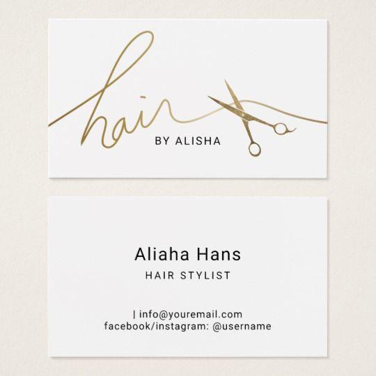 Hair Stylist Minimalist Gold Script Scissor Business Card Zazzle Com Hairstylist Business Cards Salon Business Cards Hair Business Cards