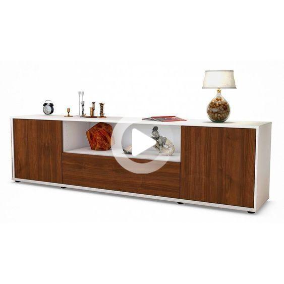 Lowboard Arbnora Korpus Wei Front In Walnuss Holz Optik 180x49x35cm Bxhxt In 2020 Wohnzimmerdekoration Wohnen Wohnbereich
