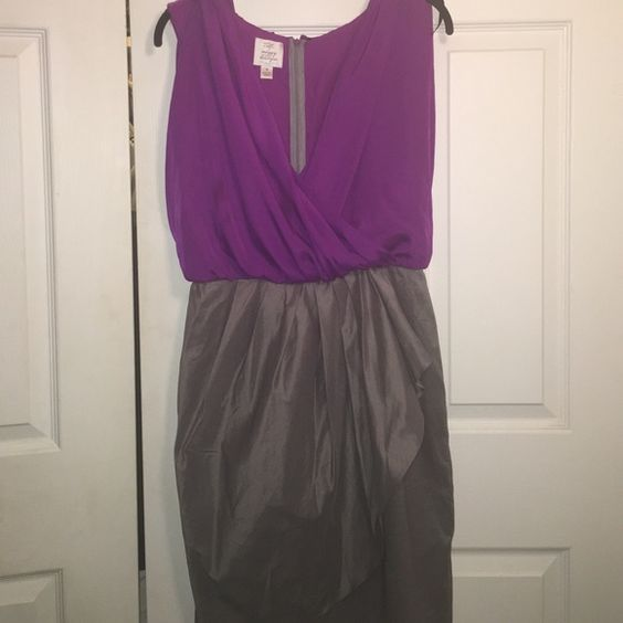 Suzy Chin for Maggy Boutique sz 4 dress Cute purple and charcoal layered dress. Zip back. Flouncy purple top and sleek gray bottom. Layered design on skirt of dress. Small hole on chest from safety pin, barely visible. Worn once for college graduation. Suzy Chin Dresses