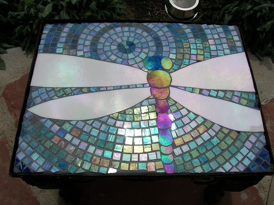 Dragonfly mosaic table.: