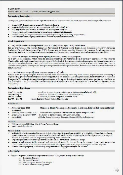 curriculum vitea format Sample Template Example ofExcellent - human resource resume format