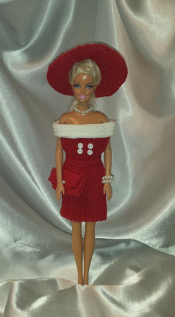 Crochet 1960's Barbie Dress, Hat and Clutch, Handmade Barbie Clothes, Lipstick…