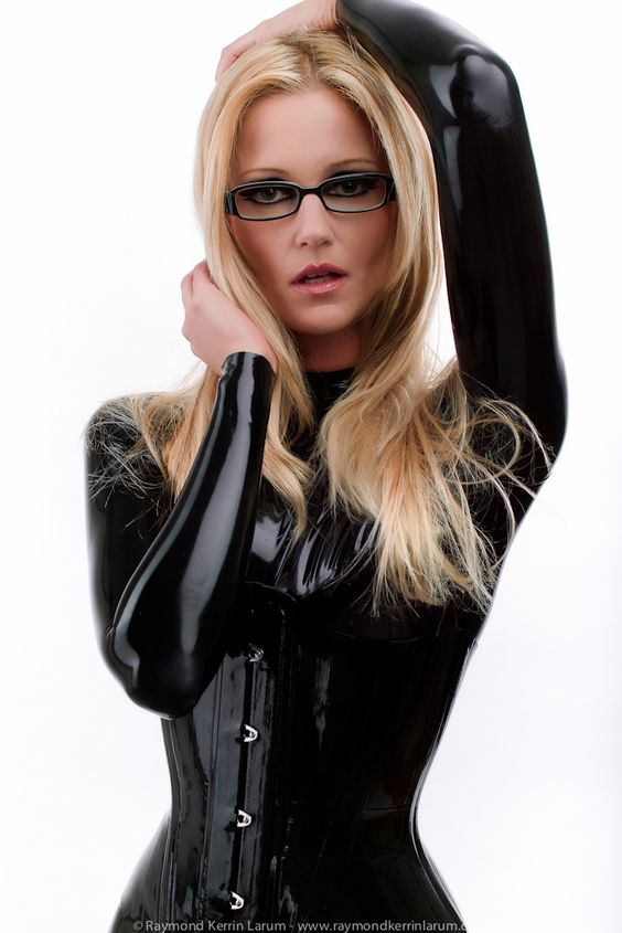 black latex catsuit and corset - love the glasses