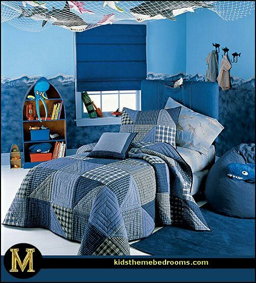 My Son Would Love To Have An Underwater Bedroom With Sharks On The Walls Sea Life Bedroom Underwater Bedroom Ocean Themed Bedroom