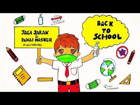 Cara Menggambar Dan Mewarnai Poster Tema New Normal Sekolah Ep 221 Youtube Sekolah Gambar Cara Menggambar