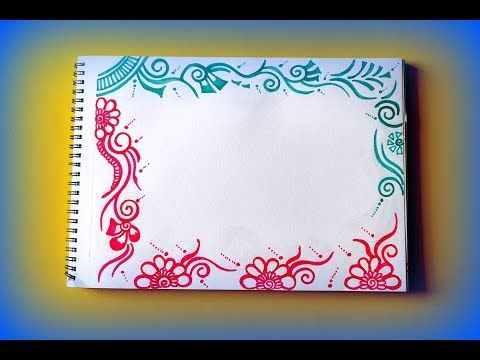 Diy Sketch Pens Simple Easy Decorative Border Design For Project File Back To School 451 Youtub Border Design Decorative Borders Scrapbook Frames