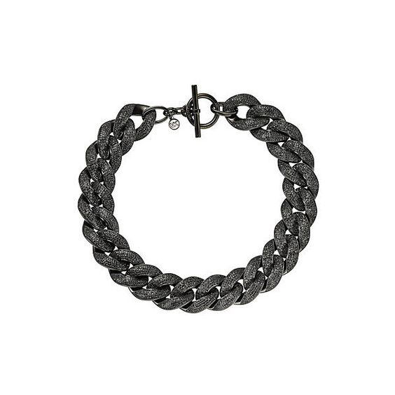 Michael Kors Pav?? Black Tone Chain Link Necklace