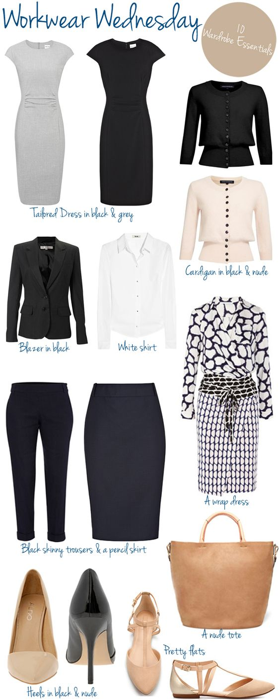 Workwear Wednesday – 10 Wardrobe Essentials. A little too bland for my taste but still a good guide.: