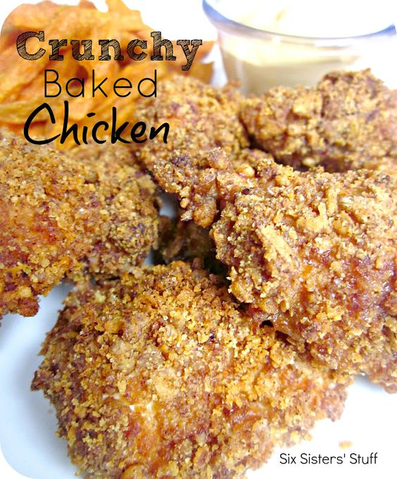 Crunchy Baked Chicken from sixsistersstuff.com.  The amazing taste of fried chicken but without all of the guilt! #recipes #dinner #chicken