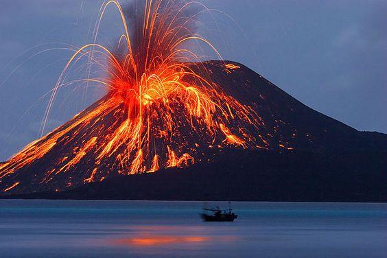 Anak Krakatau Child Of Krakatoa Volcano West Java Is An Island - Incredible neon blue lava flames erupt volcano