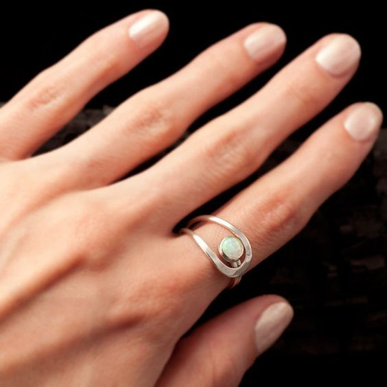 Opal Ring Silver Opal Ring Sterling Silver Stone Ring by Artulia, $48.00