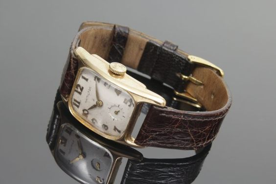 Herrenarmbanduhr, 750 Gelbgold, Hamilton, USA, um 1949