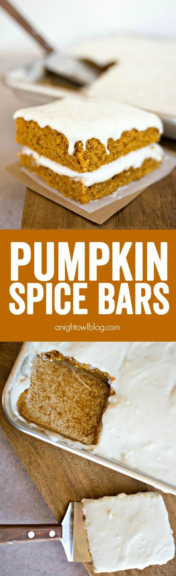 These Pumpkin Spice Bars with cream cheese frosting are moist ...