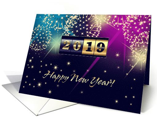 Send Wishes And Love To Friends And Family With This Elegant Festive Design New Year S 2019 Card New Year Card Design New Year Greeting Cards Fireworks Design