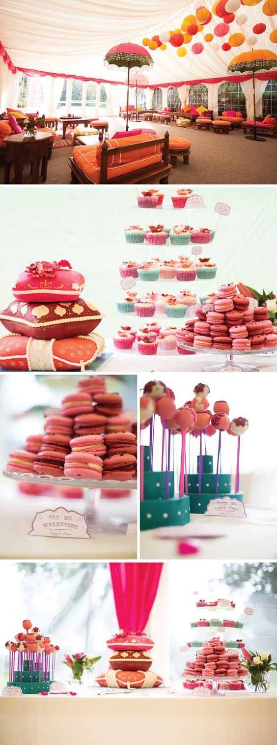Colourful Indian Fusion Wedding features wedding macaroons, moroccan seating, dipped lollipops, colourful cupcakes.