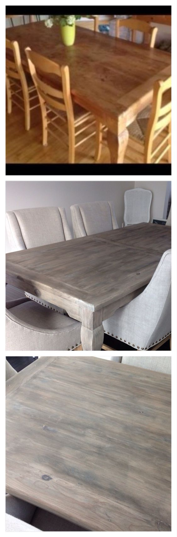 DIY Restoration Hardware finish. Craigslist table: stripped, sanded, bleached (used a deck bleach), liming wax, glaze (two coats), clear wax.