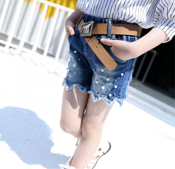 CH02060 Pearl summer shorts Korean style jeans