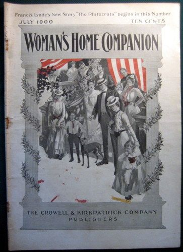 1900, July- Victorian 4th of July Woman's Home Companion magazine | vintage Independence Day. Men, women, children in elegant outfits and a dog. (art, illustrator, illustration)