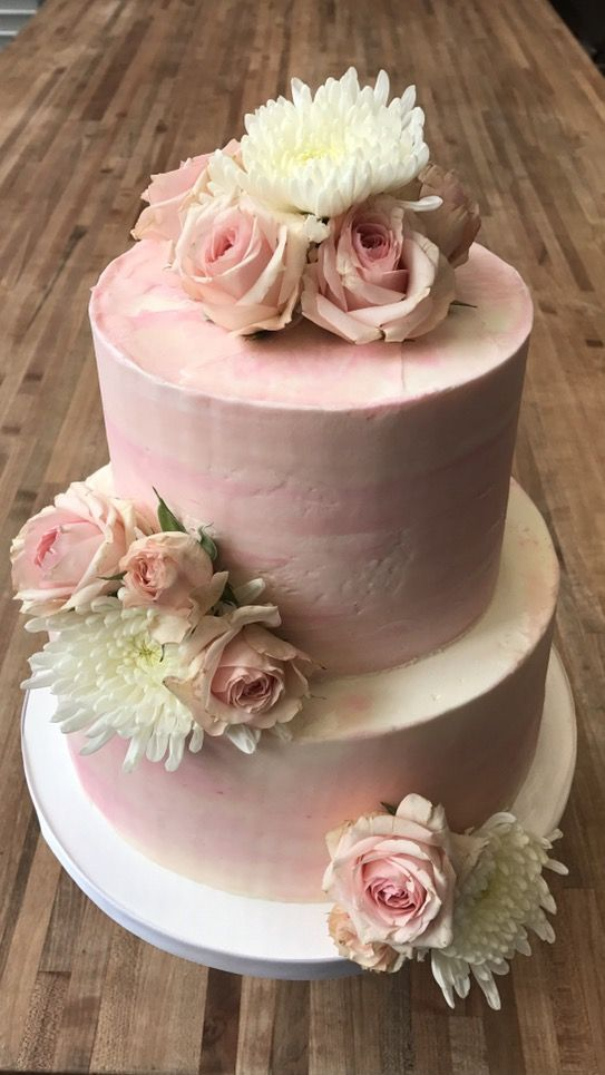 2 Tiered Pink Watercolor Cake With Fresh Flowers Fresh Flower Cake Flower Cake Decorations Floral Cake Birthday