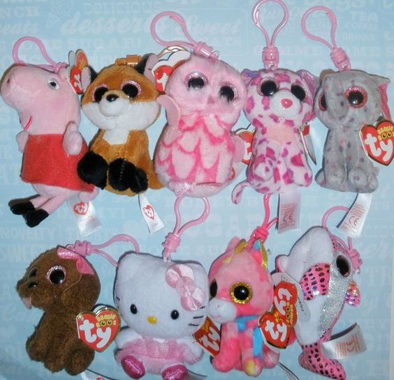"TY Back Pack Clip Beanie Boos Peppa Pig Frozen YOU PICK Small 3"" Plush Clip NEW #Ty"