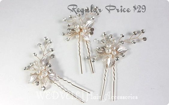Horquilla perlas con cristales por WEDVEIL en Etsy