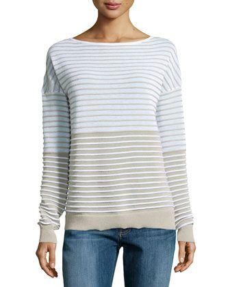 Textured-Stripe Sweater, Linen White/Flint by Halston Heritage at Neiman Marcus.