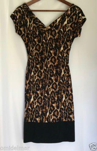 Diane-Von-Furstenberg-Leopard-Stretch-Sz-8-Dress-Gathered-Waist-Fitted-NOT-WRAP